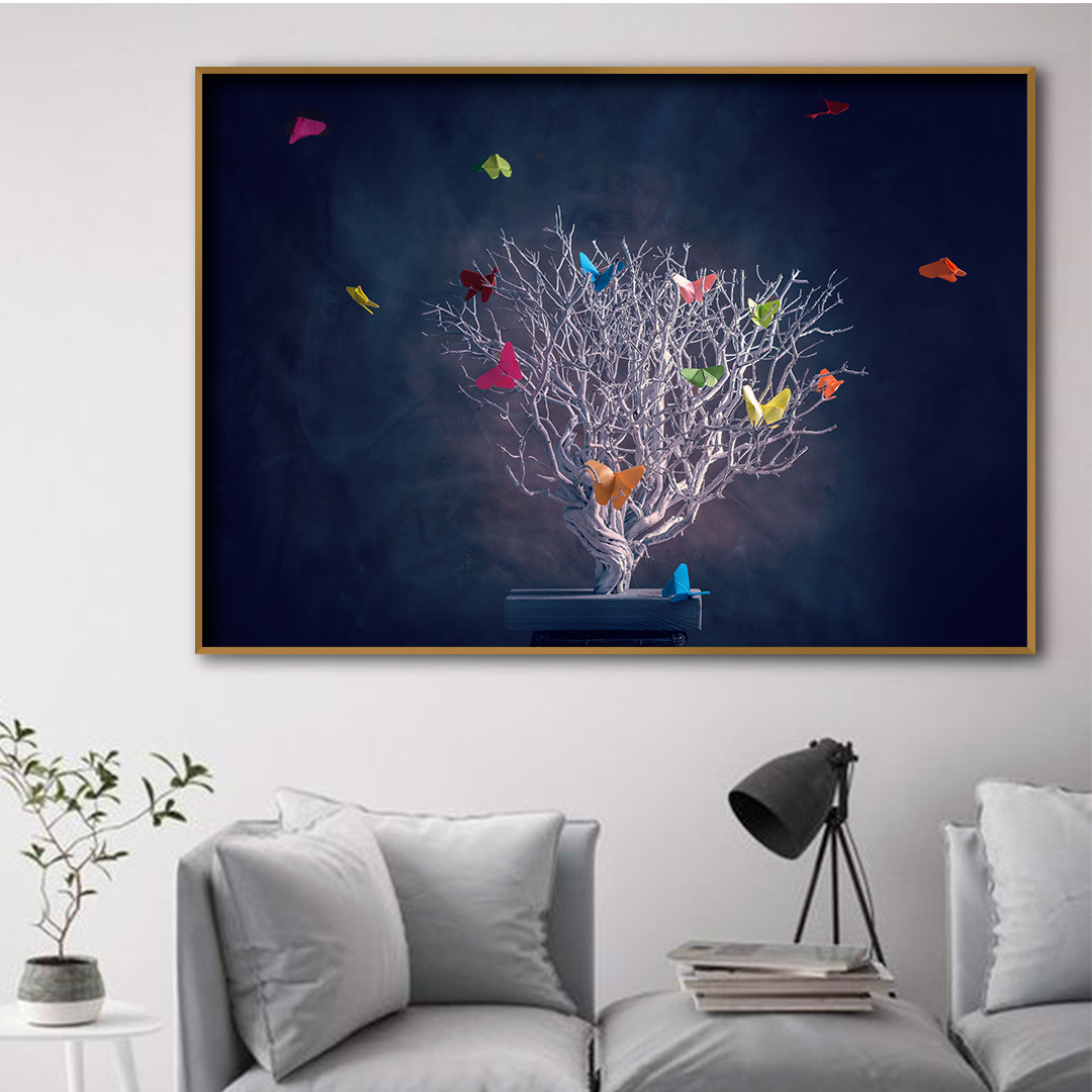 Quadro Decorativo Árvore e Voo de Borboletas