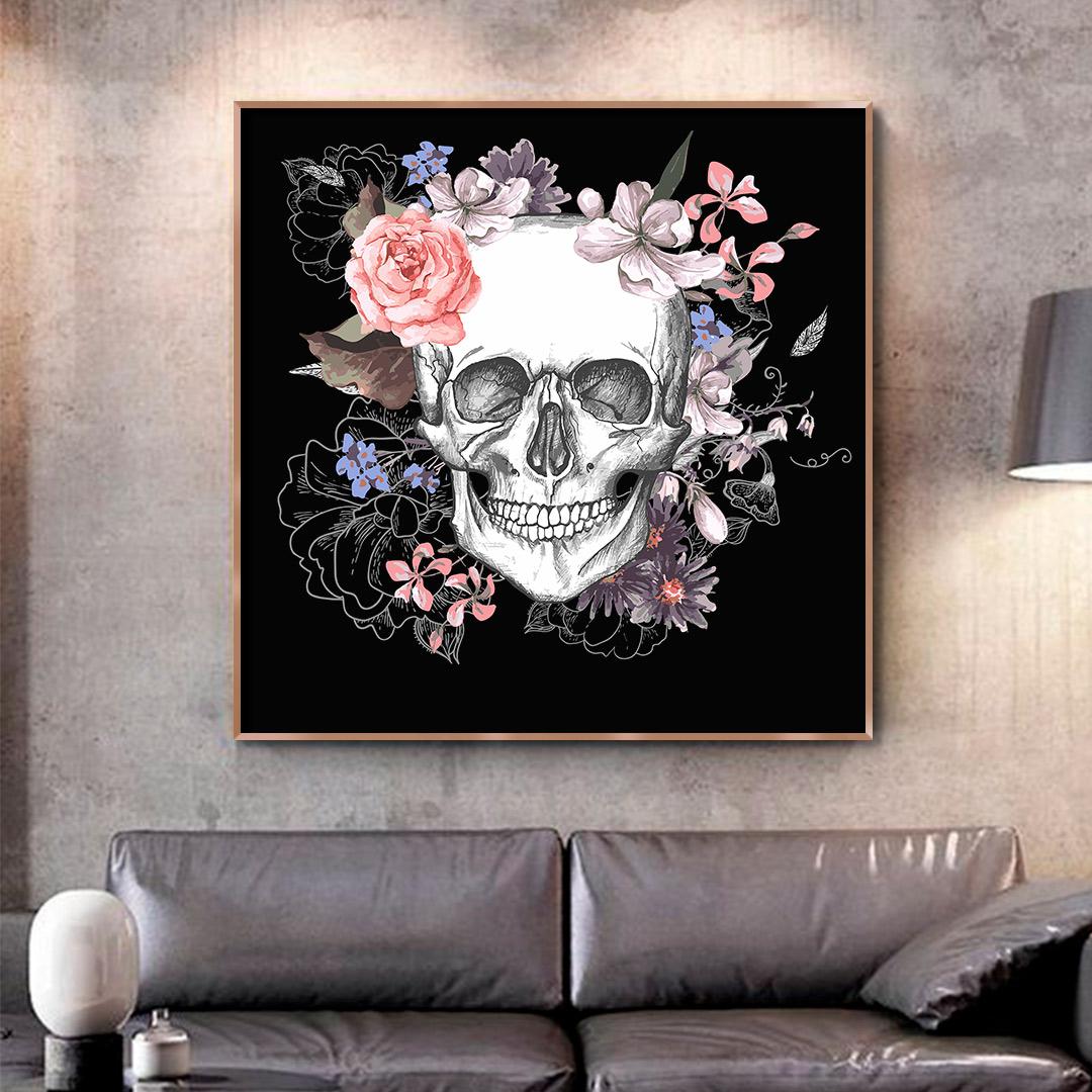 Quadro Decorativo de Caveira com Flores