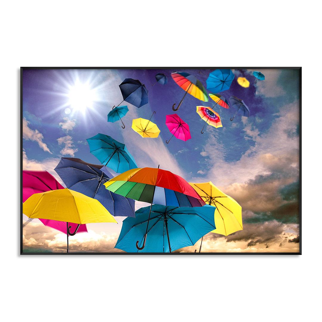 Quadro Decorativo com Guarda-Chuvas Coloridos