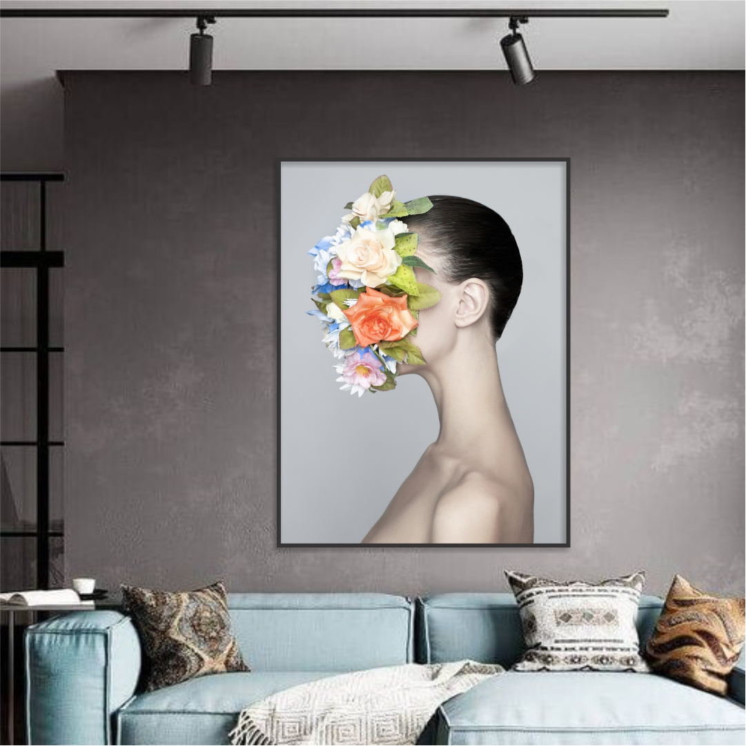 Quadro Decorativo de Mulher com Arranjo de Flores no Rosto