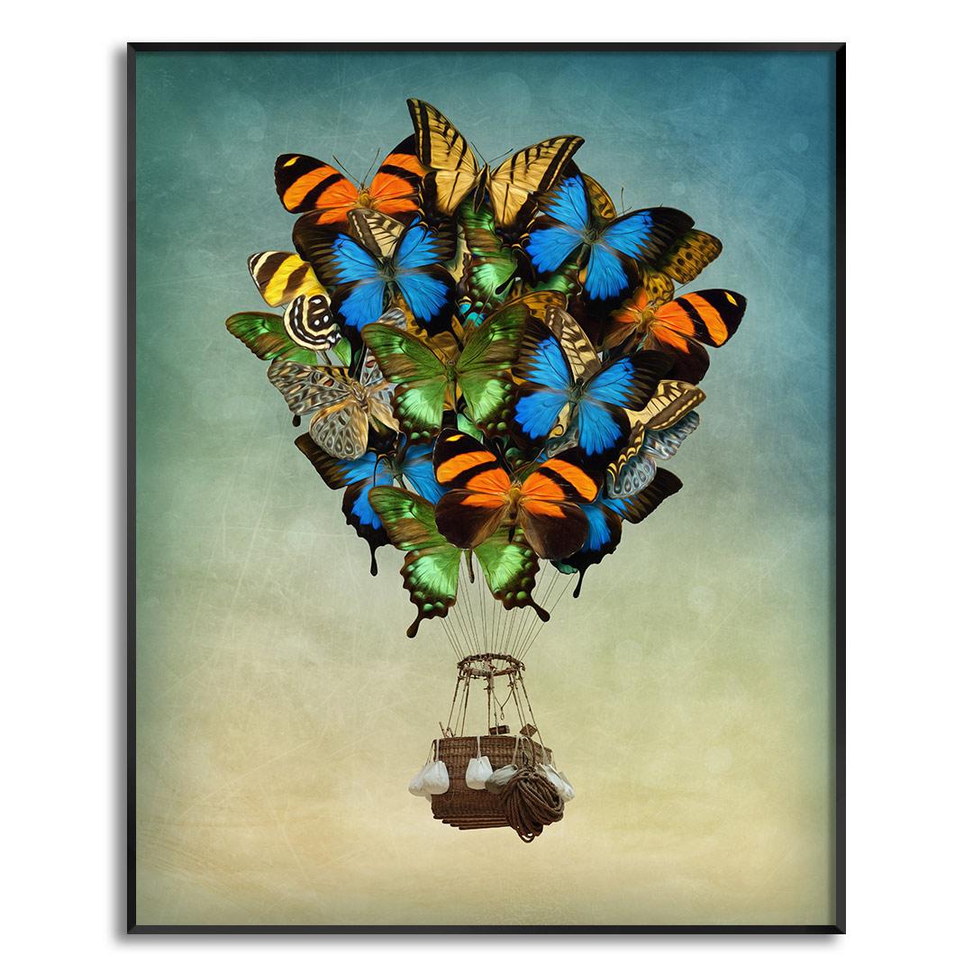 Quadro Decorativo com Arte de Balão com Borboletas