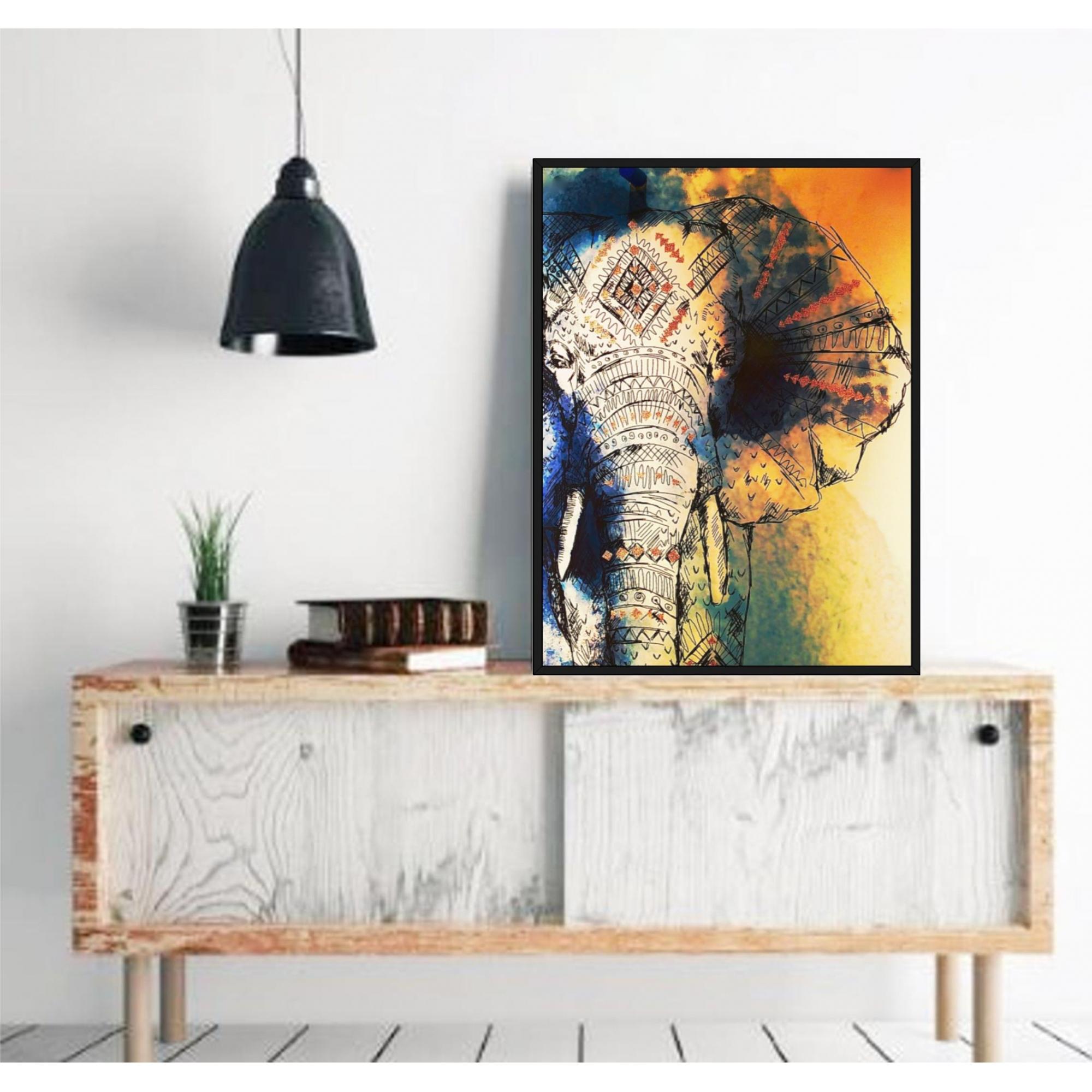 Quadro Decorativo com Arte de Elefante Étnico