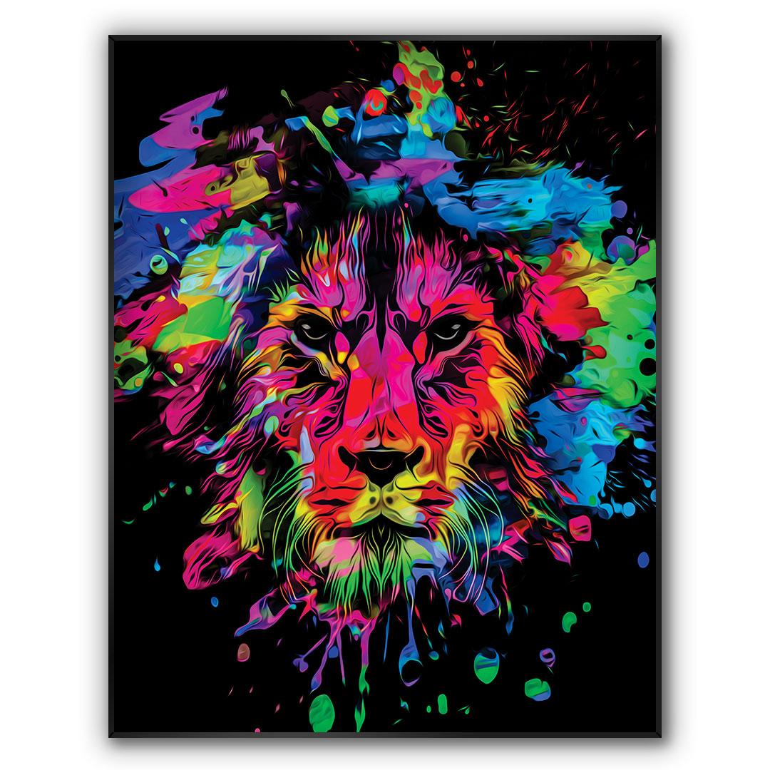 Quadro Decorativo com Arte de Leão Colorido