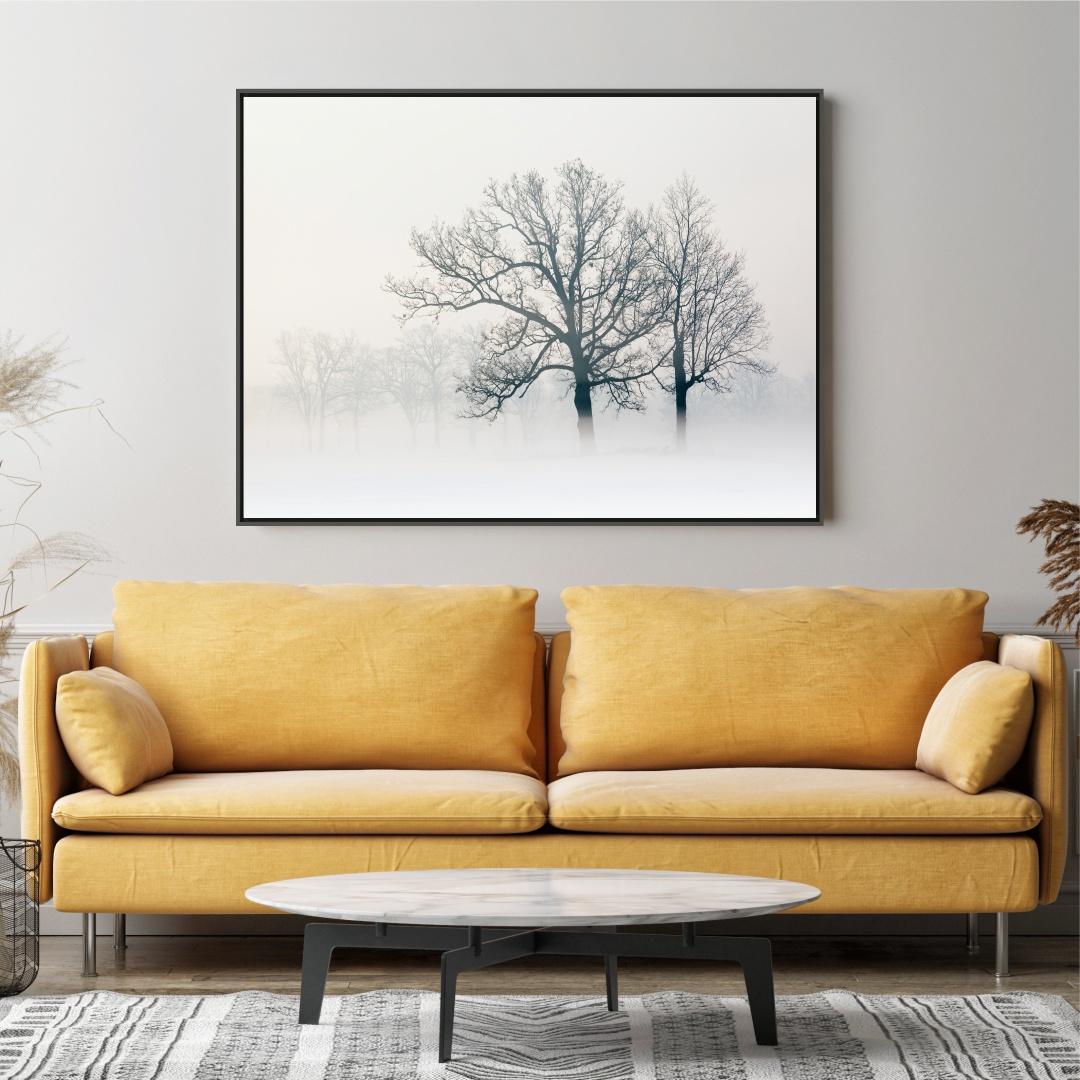 Quadro Decorativo com Árvore em Preto e Branco