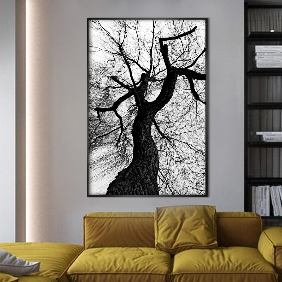Quadro Decorativo com Árvore Preto e Branco