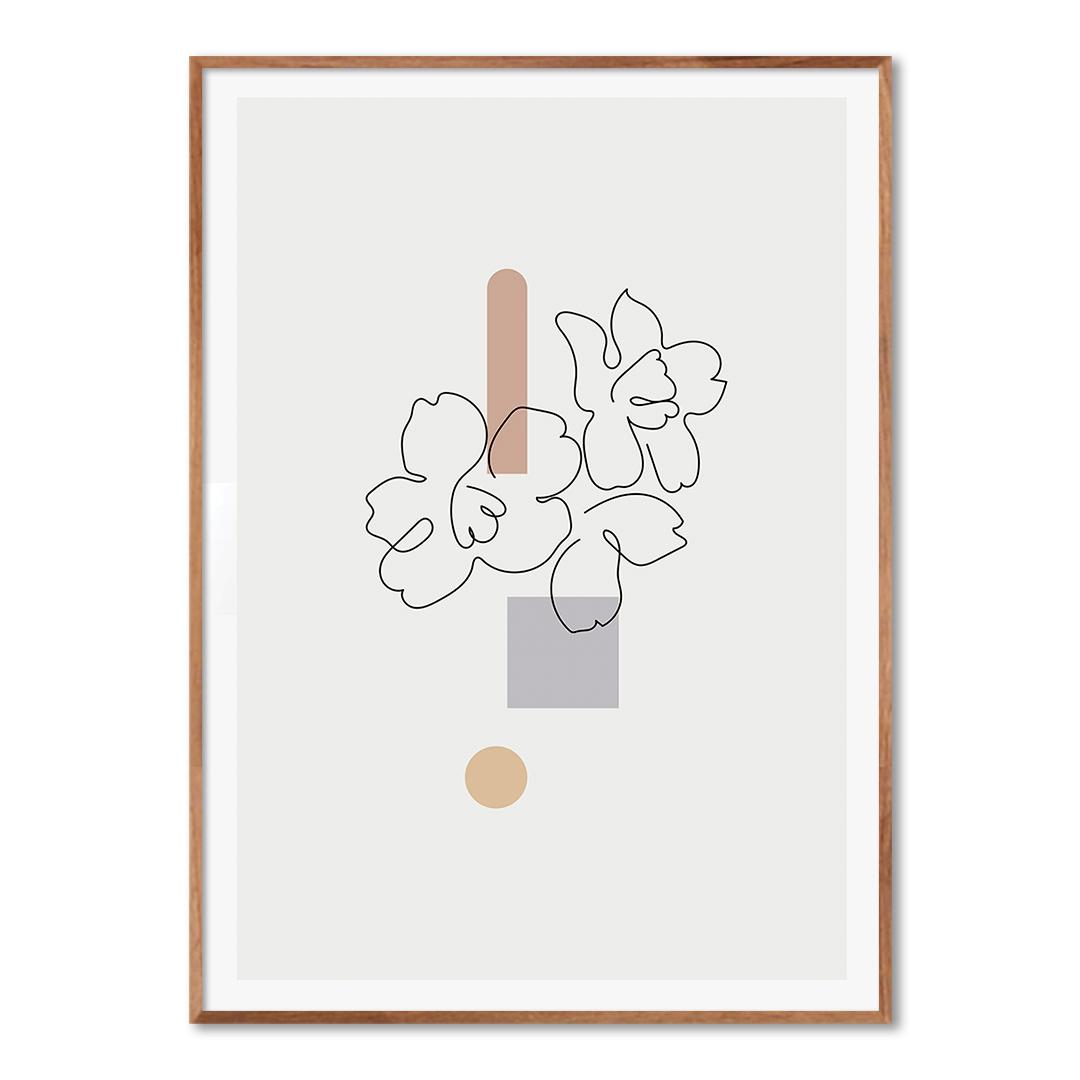 Quadro Decorativo com Desenho de Flor em Linha Fina