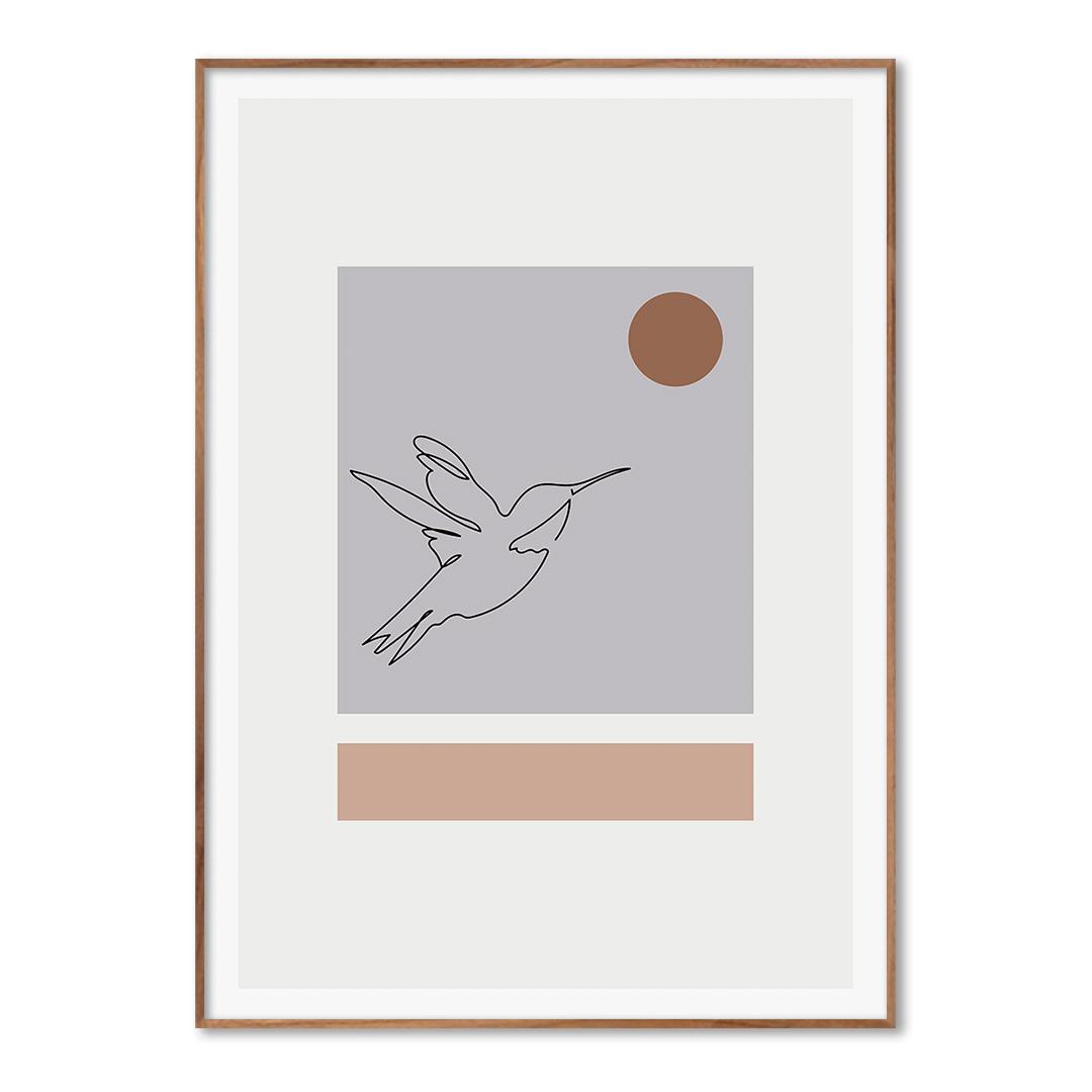 Quadro Decorativo Desenho de Pássaro em Linhas Finas