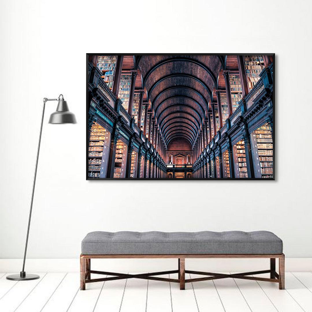 Quadro Decorativo com Fotografia da Biblioteca Trinity College - Dublin/Irlanda