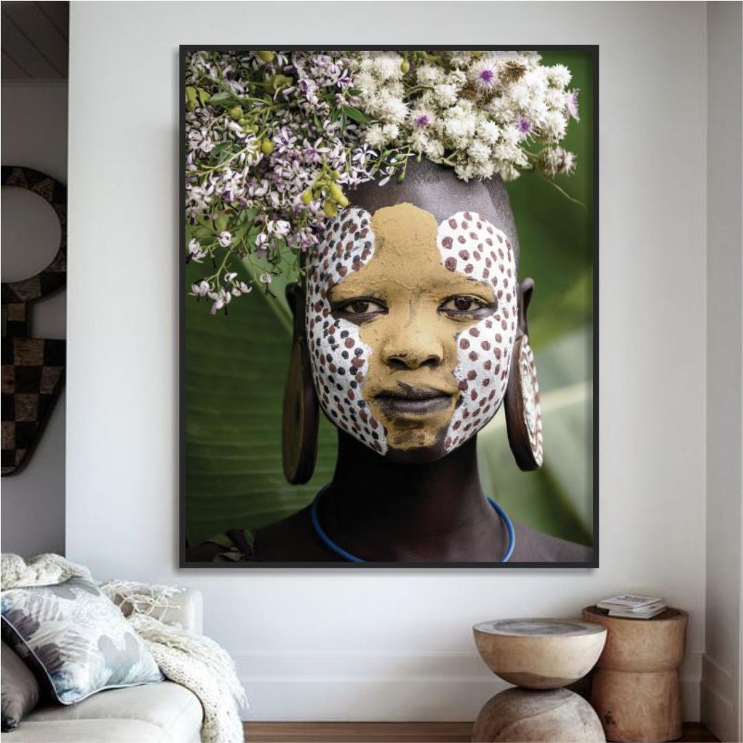 Quadro Decorativo com Fotografia de Índia Tribo Surmi - Africano