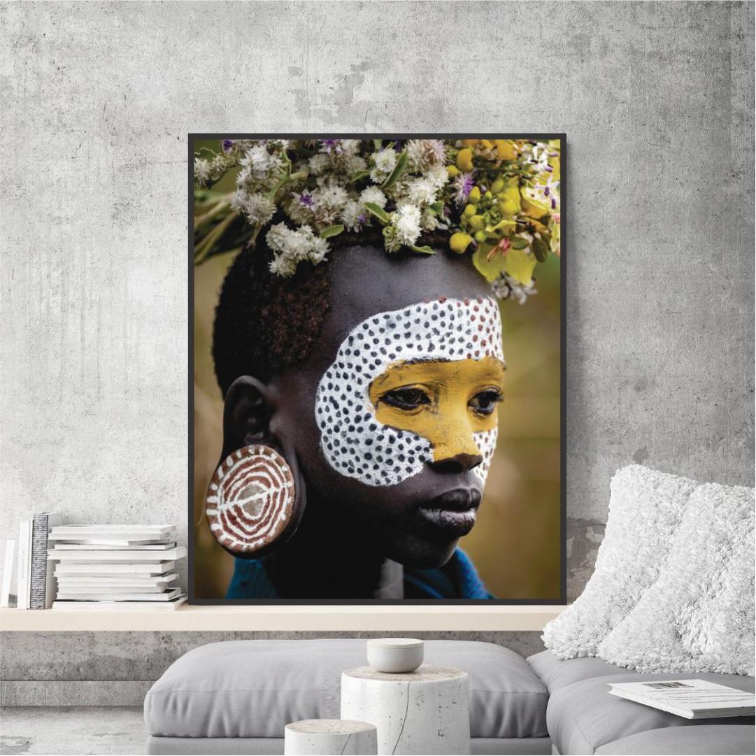 Quadro Decorativo com Fotografia de Índio Tribo Surmi - Africano