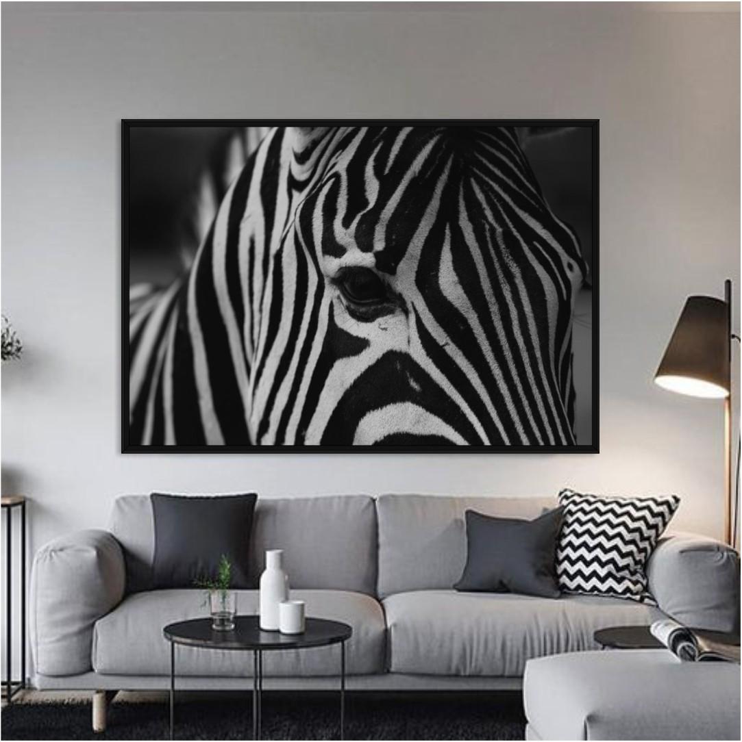 Quadro Decorativo com Fotografia de Zebra
