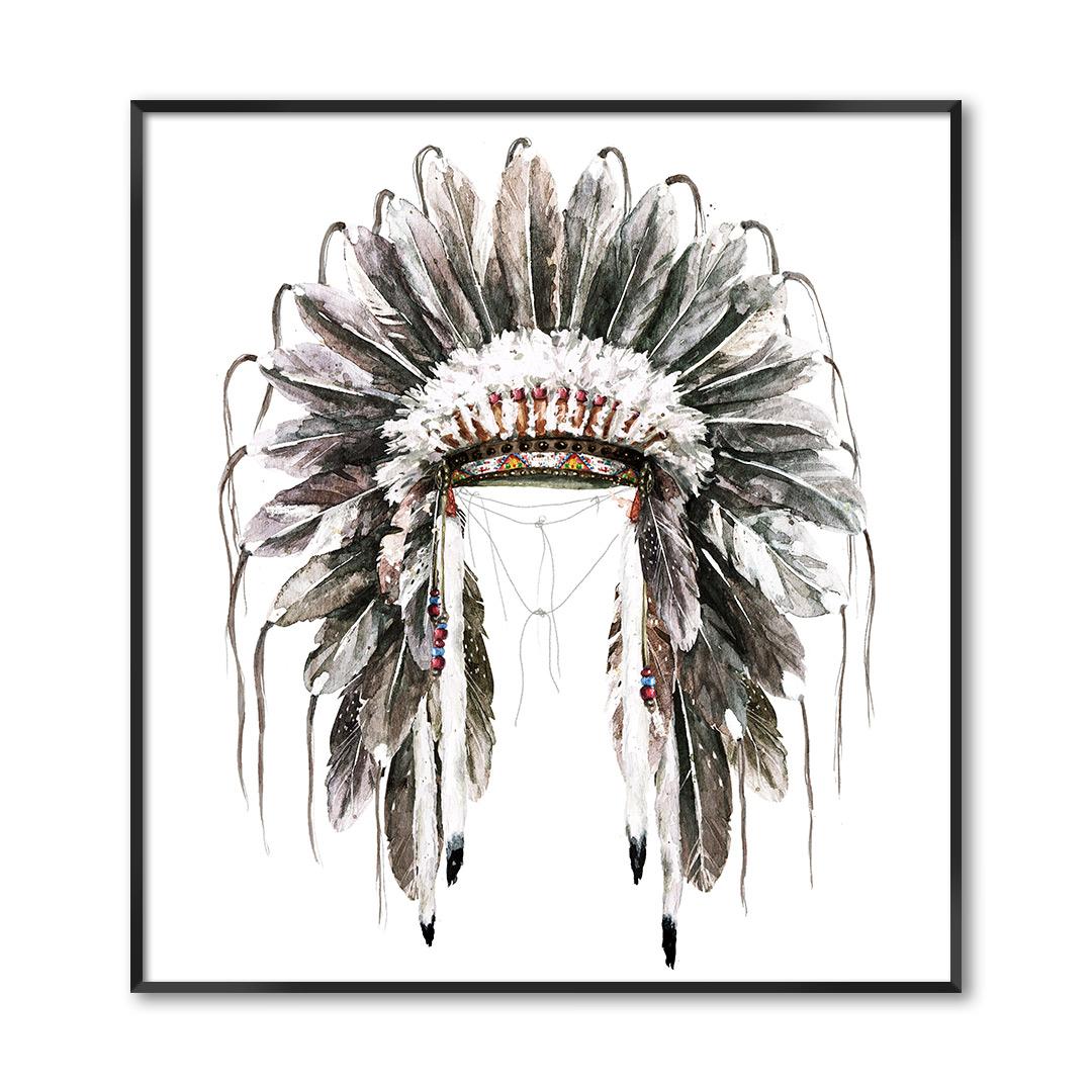 Quadro Decorativo com Ilustração de Cocar Indígena
