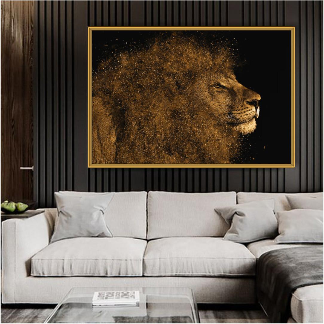 Quadro Decorativo com Leão Artístico Dourado