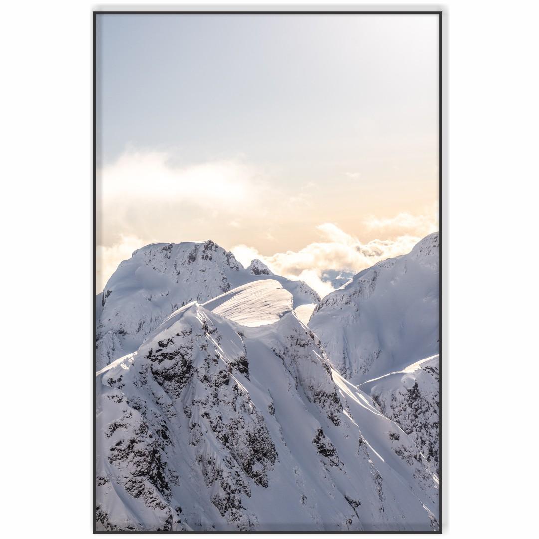 Quadro Decorativo com Nascer do Sol em Montanhas Cobertas com Neve