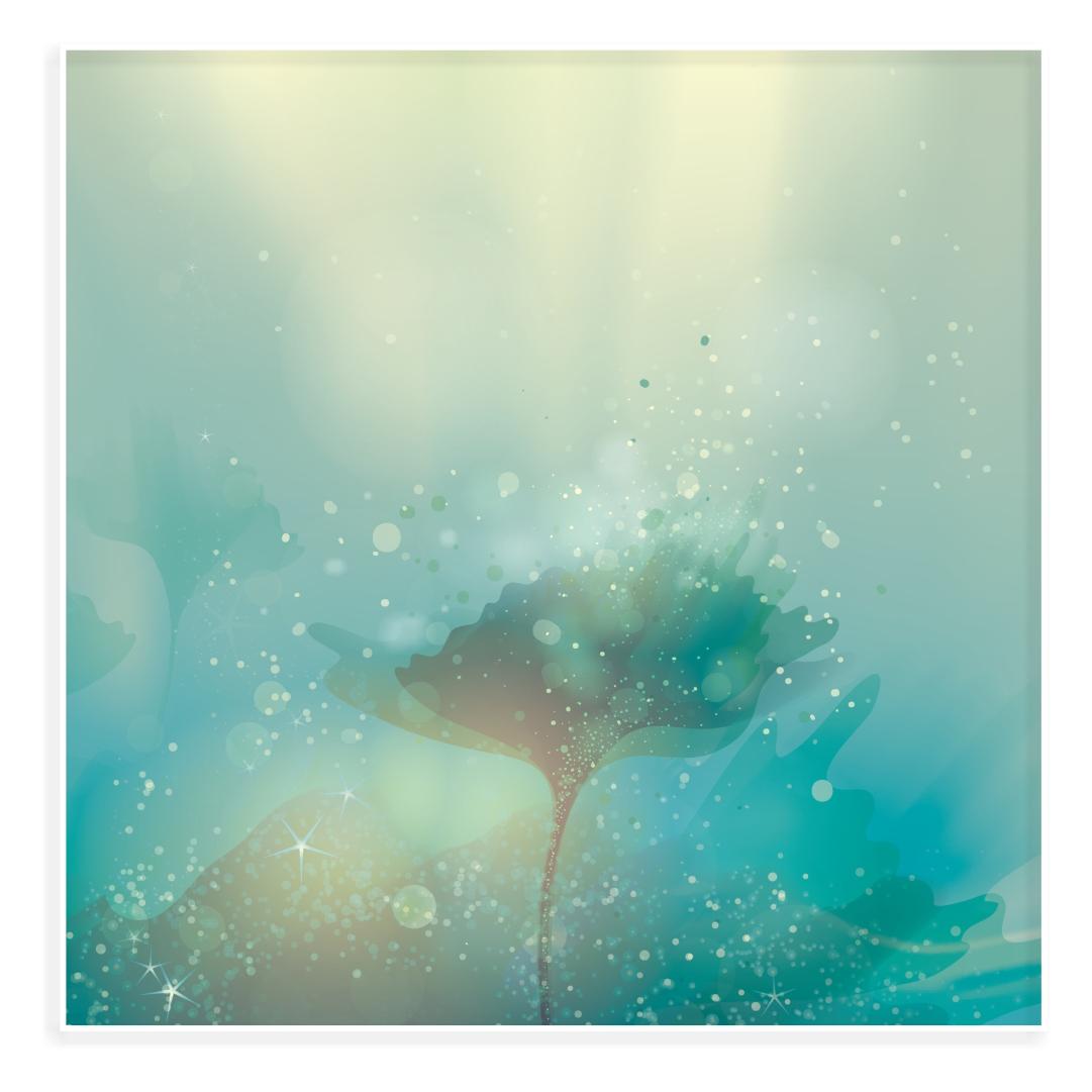 Quadro Decorativo com Paisagem Abstrata e Fundo Floral