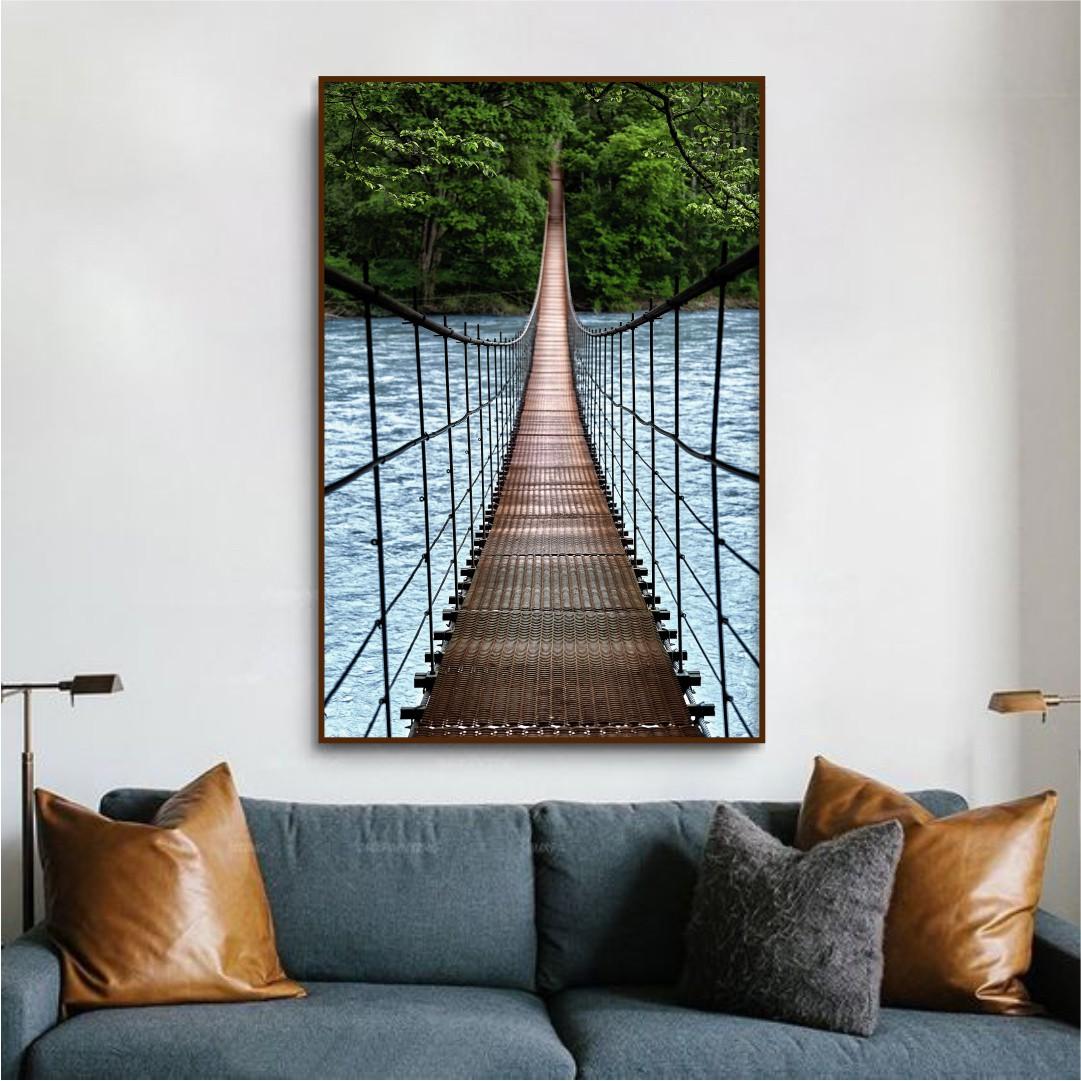 Quadro Decorativo com Paisagem e Ponte de Arame