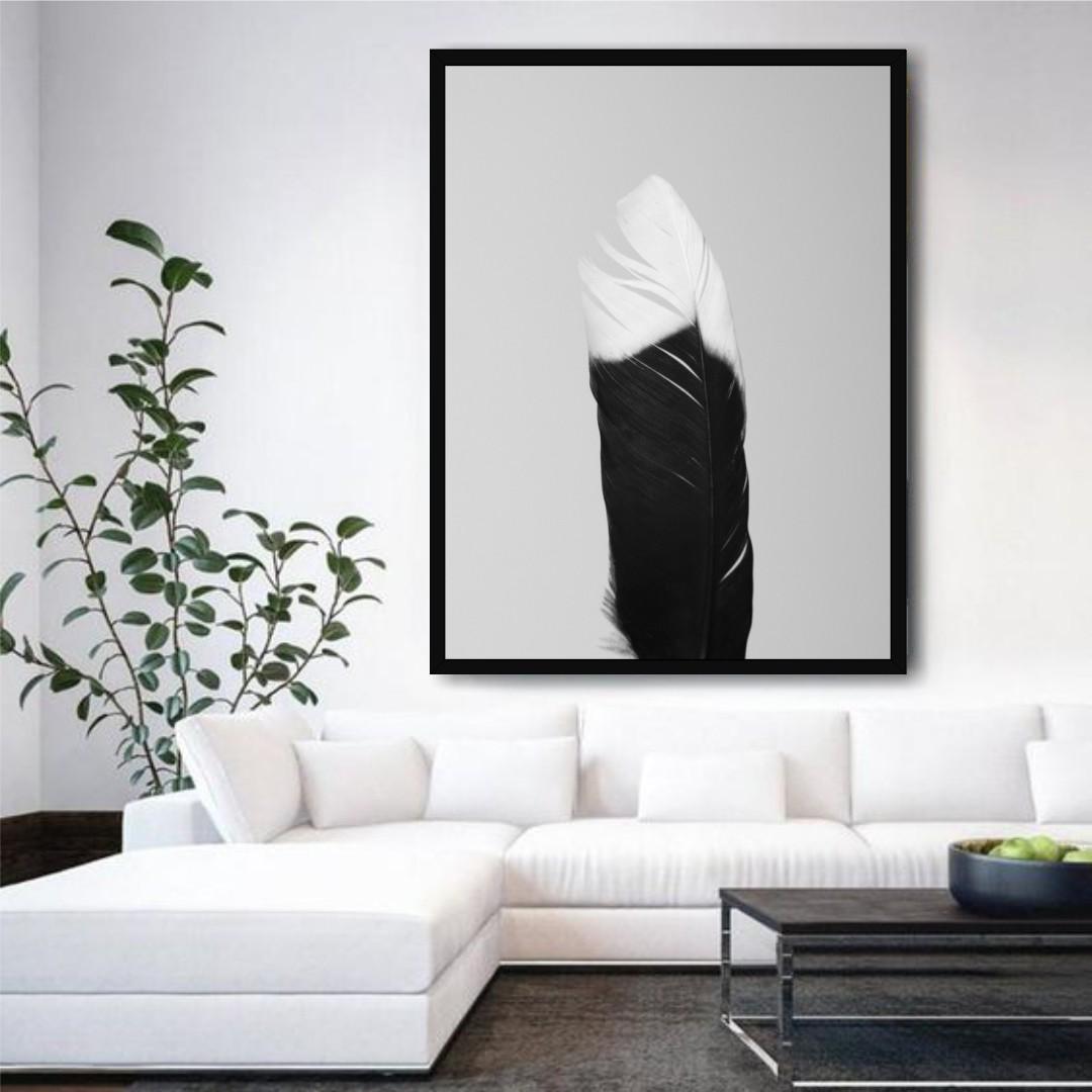 Quadro Decorativo com Pena em Preto e Branco