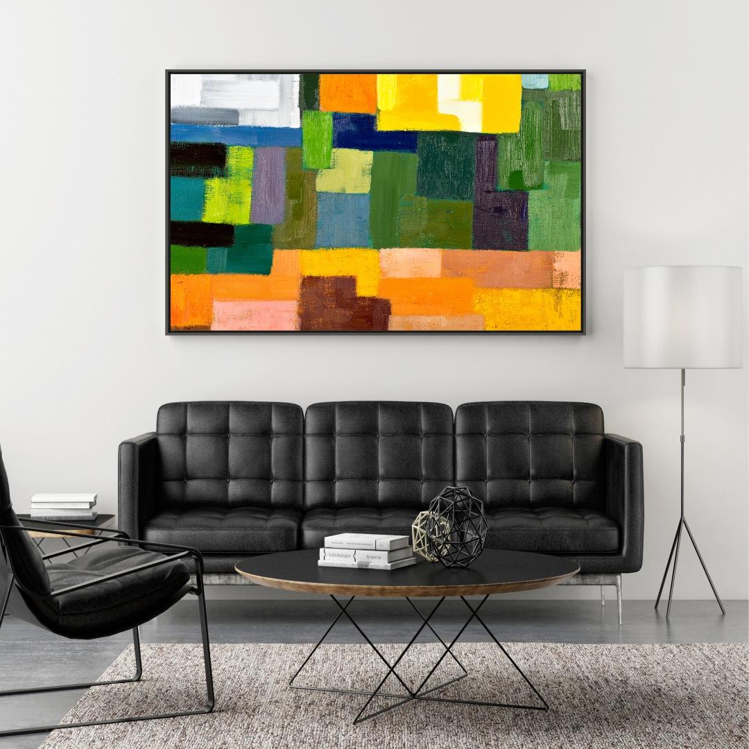 Quadro Decorativo com Pintura Abstrata Colorida
