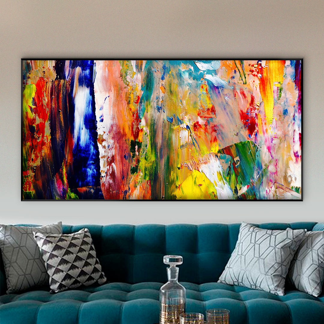 Quadro Decorativo com Pintura Abstrata Colorido