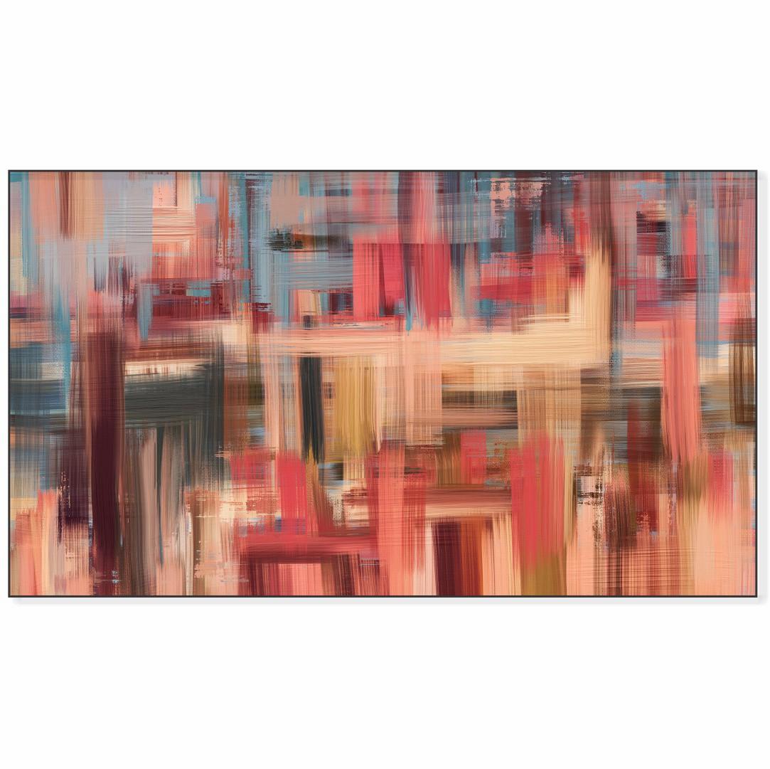 Quadro Decorativo com Pintura Abstrata em Tons de Rosa e Azul