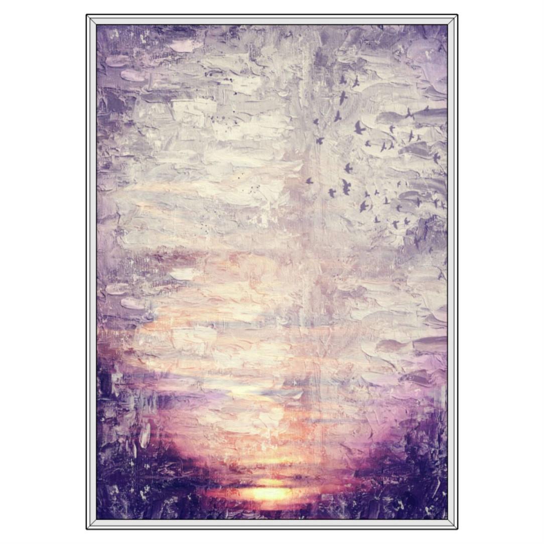 Quadro Decorativo com Pintura Abstrata Pôr do Sol