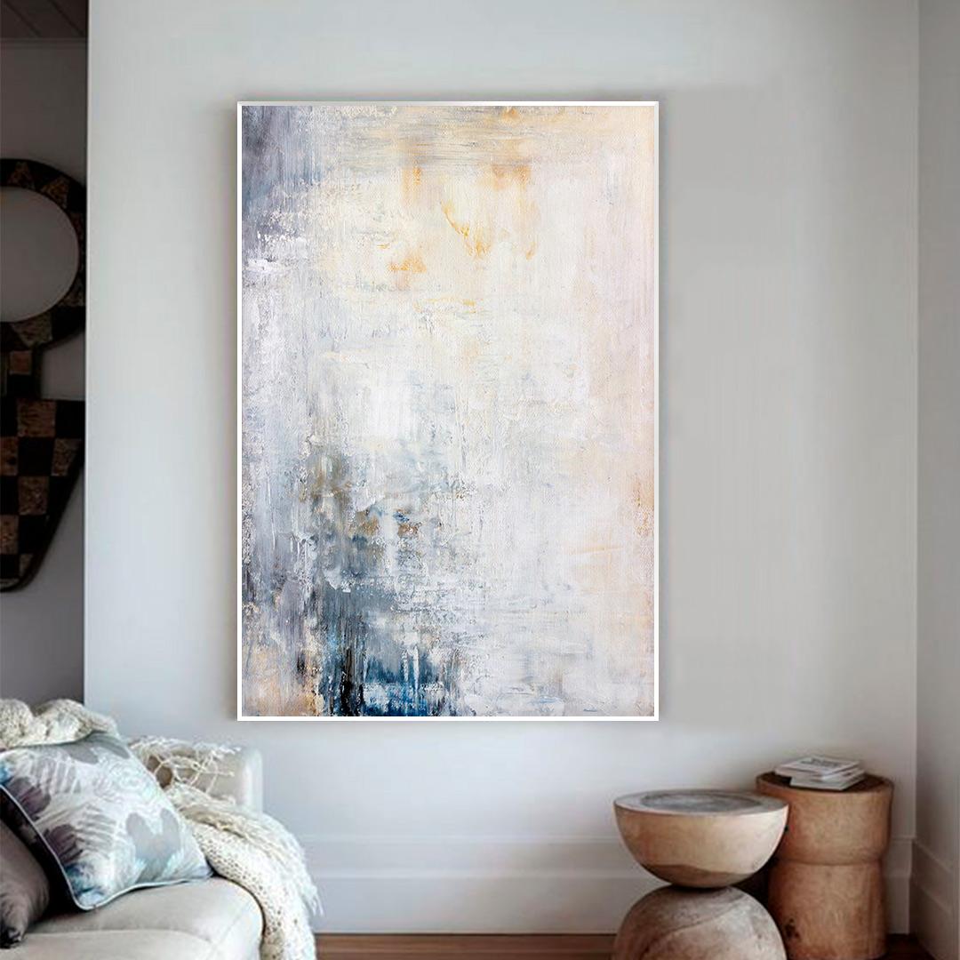 Quadro Decorativo com Pintura Contemporânea em Tons de Branco, Azul e Amarelo