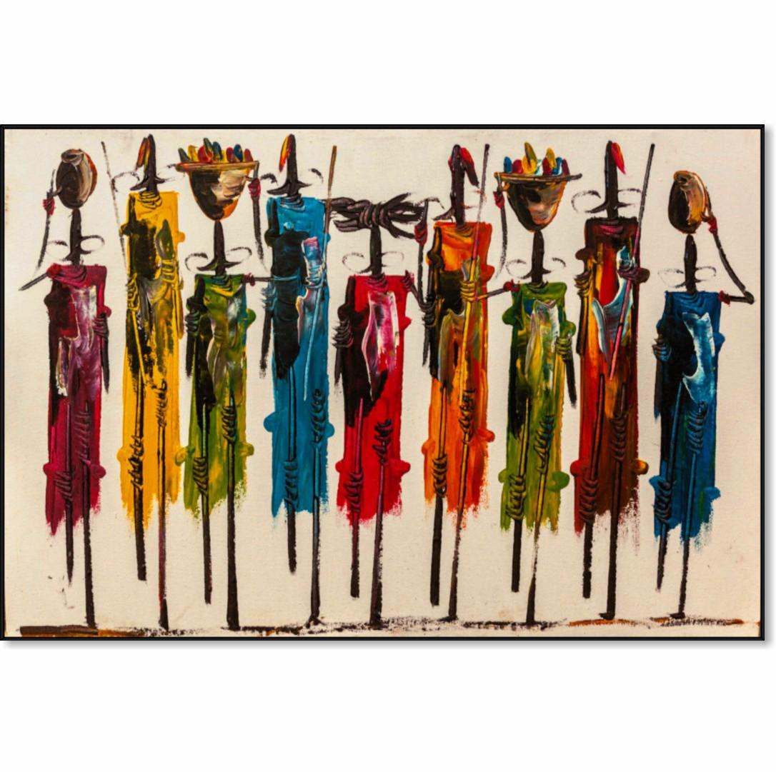 Quadro Decorativo com Pintura de Africanos