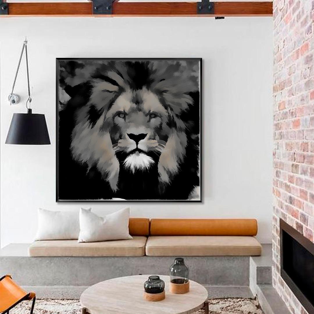 Quadro Decorativo com Pintura de Leão Preto e Branco