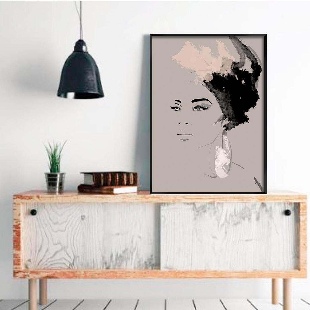 Quadro Decorativo com Pintura de Modelo Afro