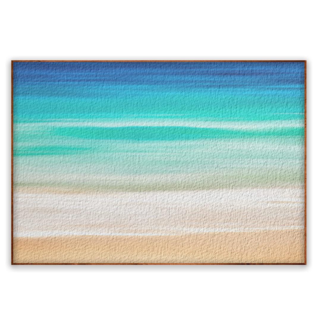 Quadro Decorativo com Pintura de Praia e Mar Abstrato