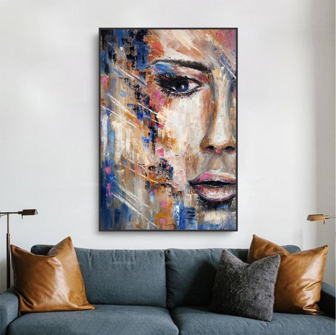 Quadro Decorativo com Pintura de Rosto Feminino