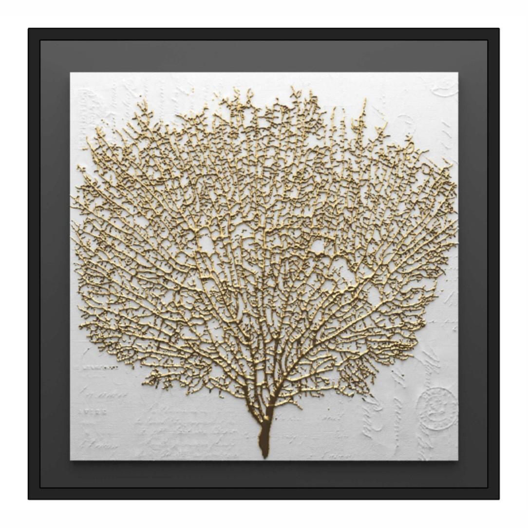 Quadro Decorativo com Pintura Dourada de Árvore