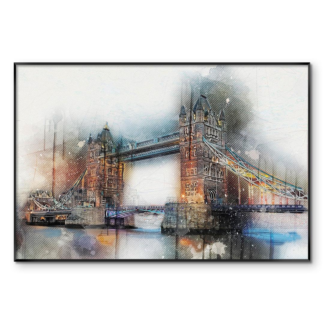 Quadro Decorativo com Pintura em Aquarela - Tower Bridge/Londres - Inglaterra