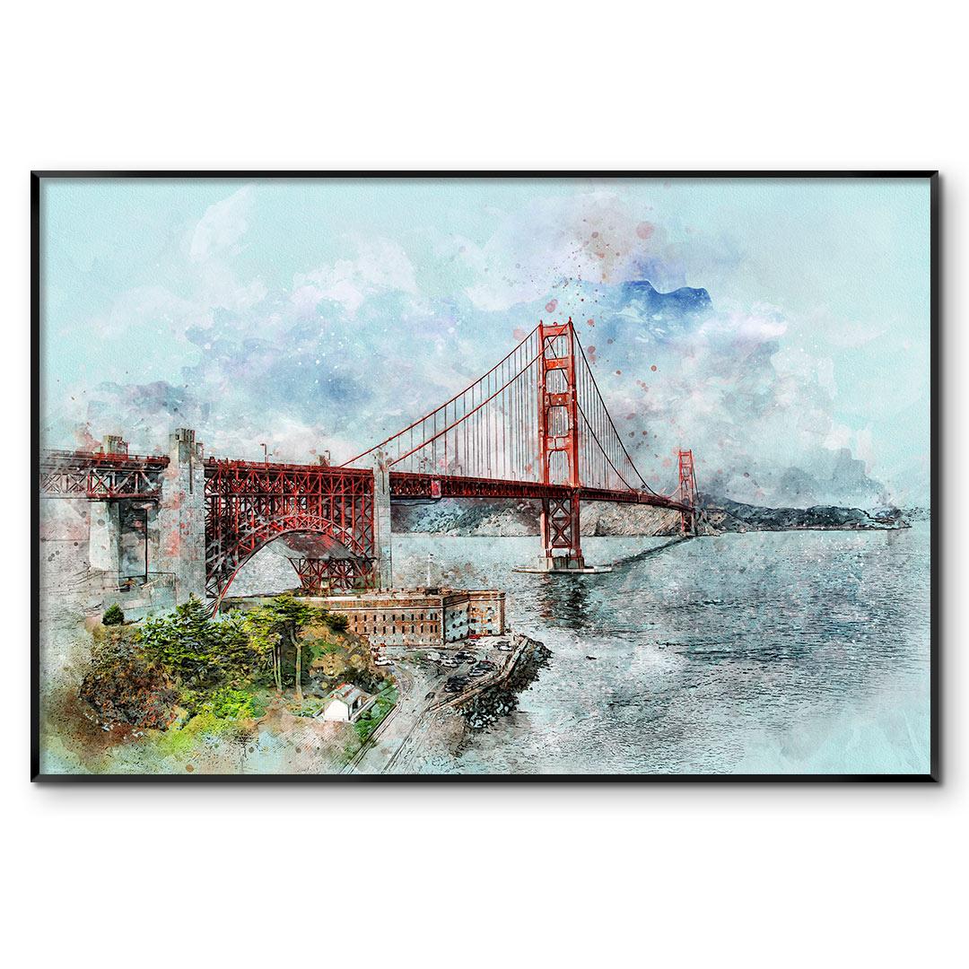 Quadro Decorativo com Pintura em Aquarela - Ponte de São Francisco/EUA