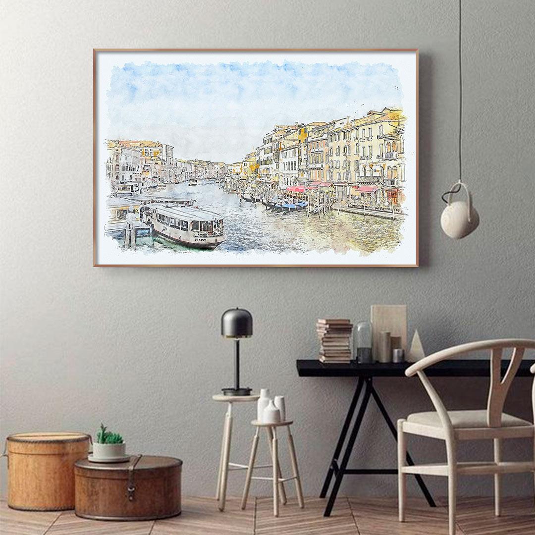 Quadro Decorativo com Pintura em Aquarela - Veneza/Itália