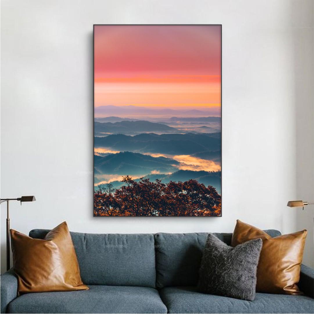 Quadro Decorativo com Pôr do Sol nas Montanhas