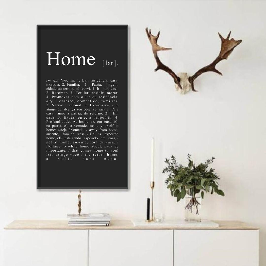 Quadro Decorativo com Significado de Home em Preto e Branco