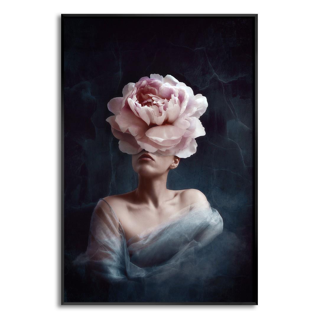 Quadro Decorativo de Mulher com Rosa no Rosto