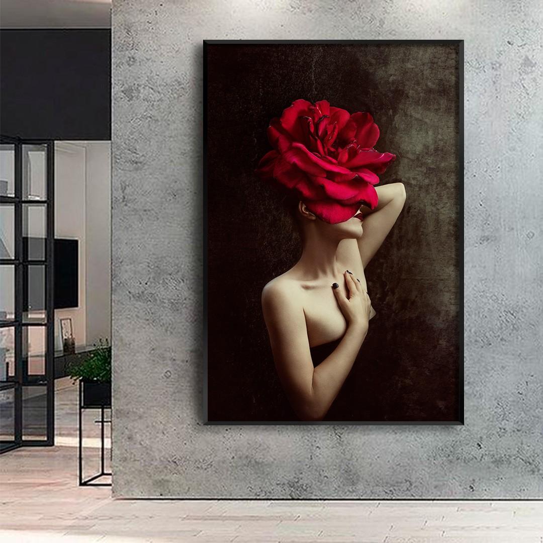 Quadro Decorativo de Mulher com Rosa Vermelha no Rosto