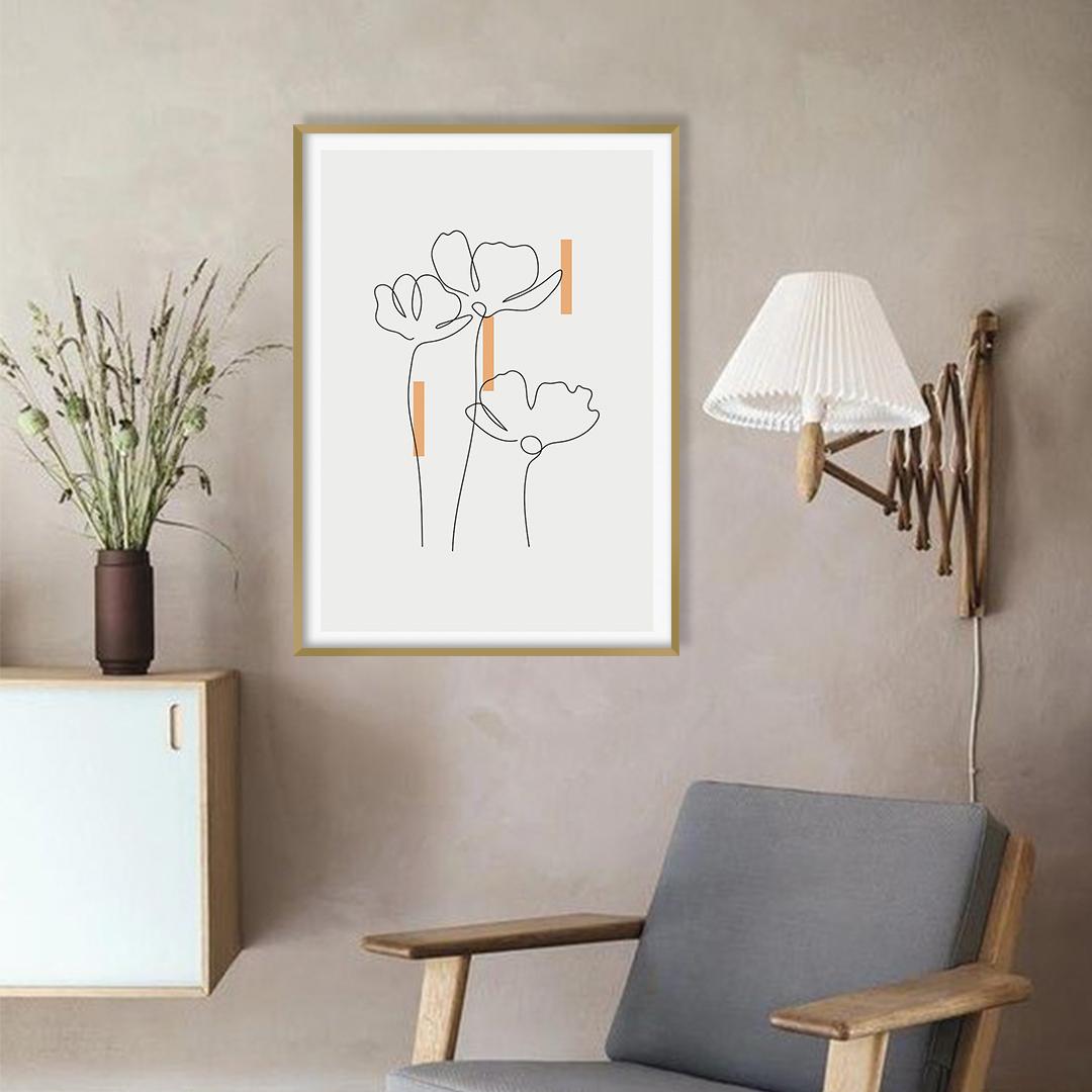 Quadro Decorativo com Desenho de Flores em Linha Fina