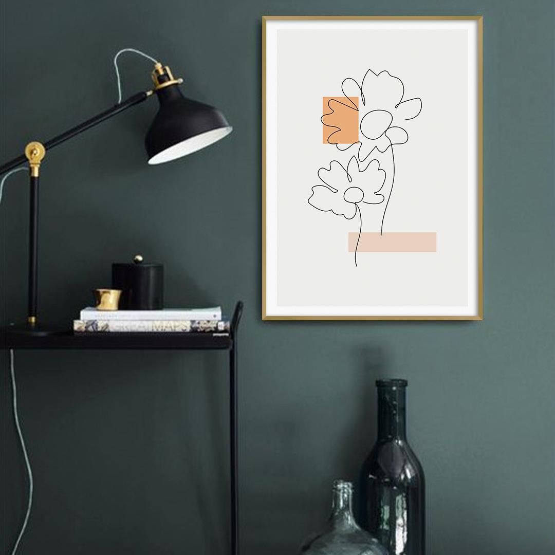 Quadro Decorativo Desenho de Flores em Linhas Finas
