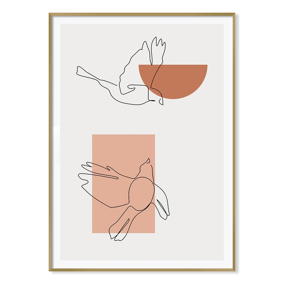 Quadro Decorativo Desenho de Pássaros em Linha Fina