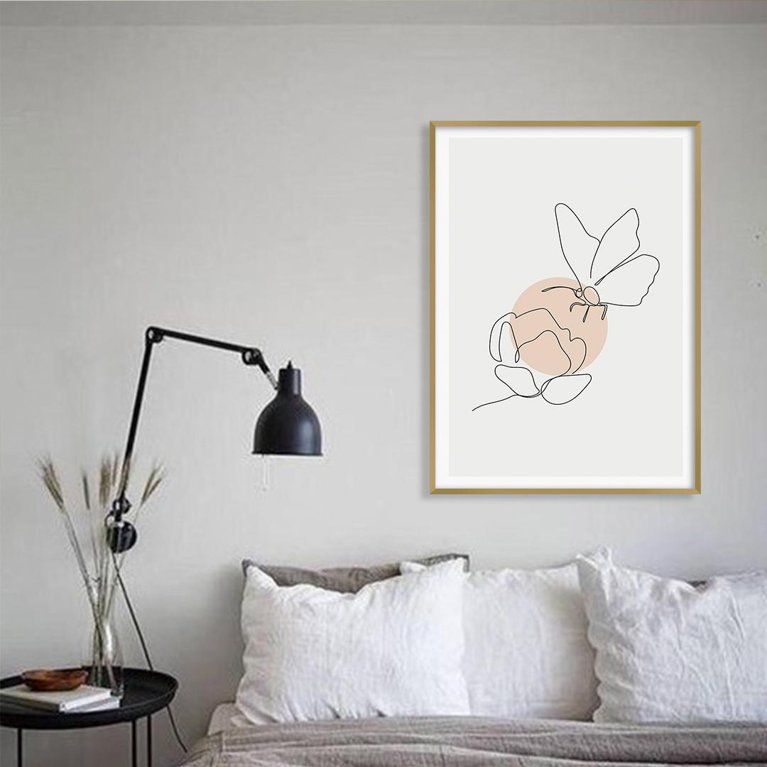 Quadro Decorativo Desenho de Flor e Borboleta em Linha Fina