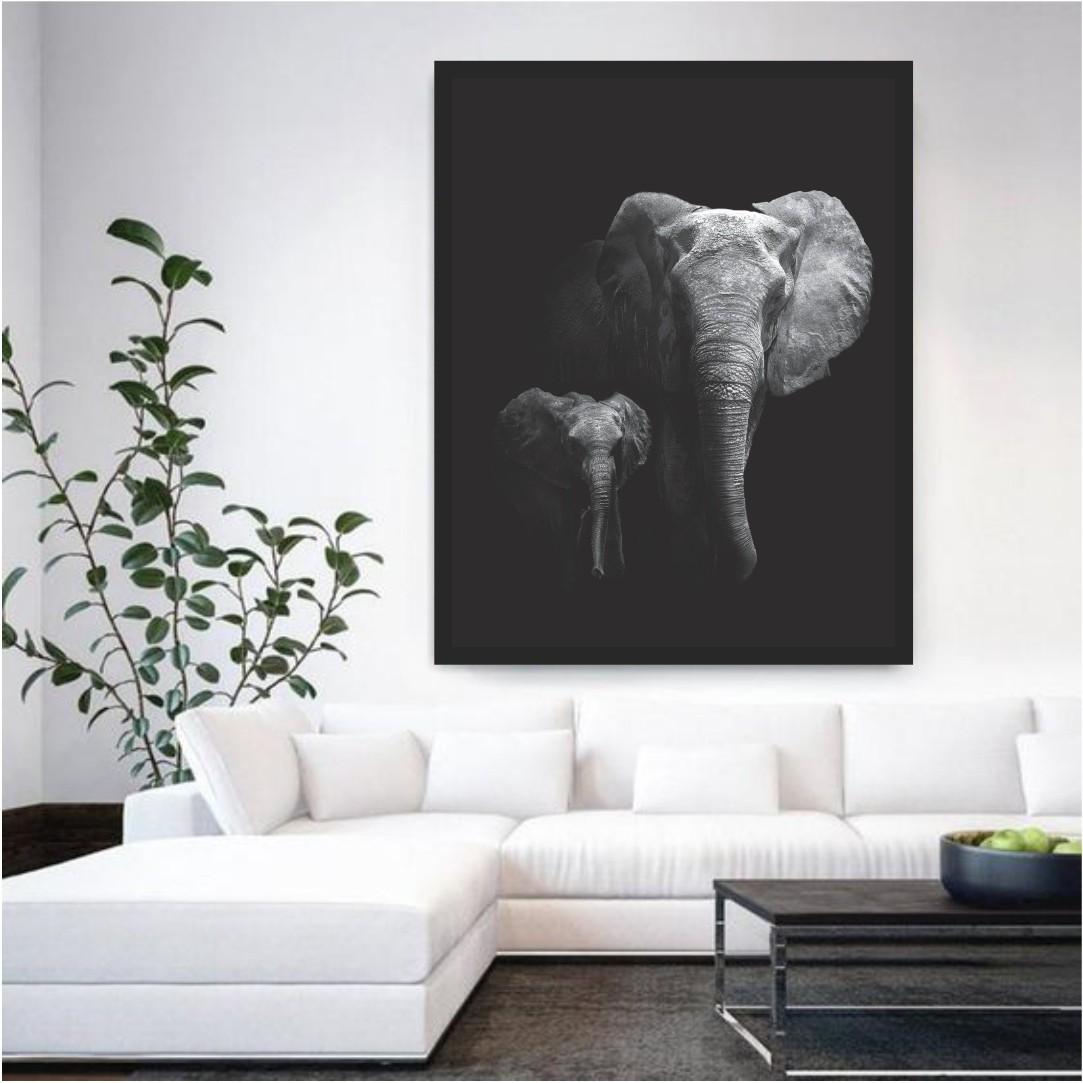 Quadro Decorativo Elefante Preto e Branco