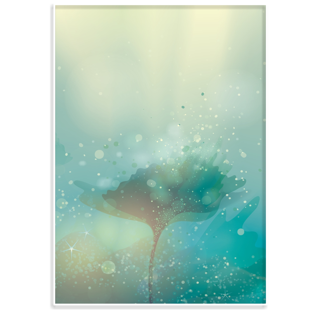 Quadro Decorativo Flor Abstrata em Tons de Verde