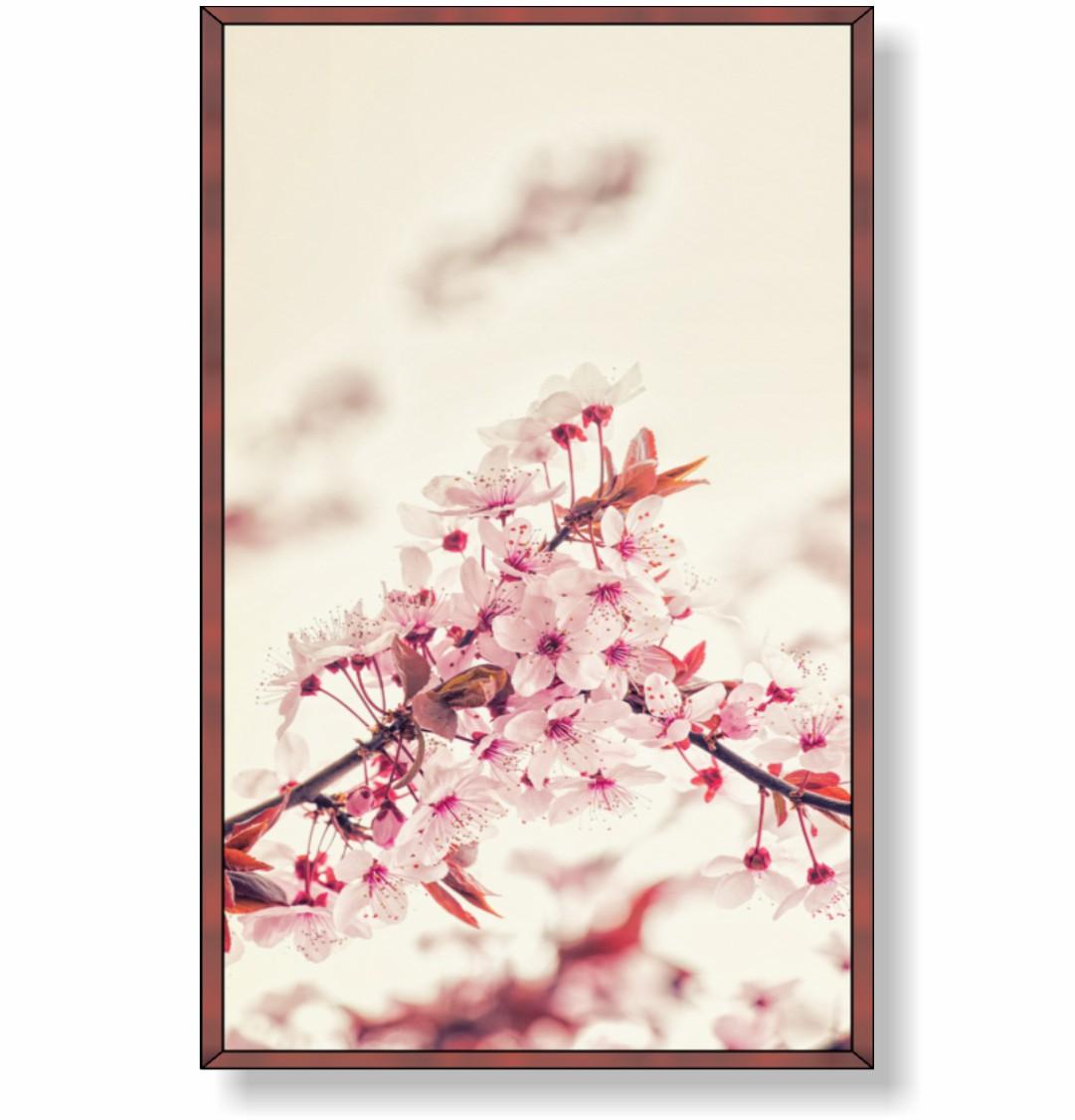 Quadro Decorativo Flor de Cerejeira com Fundo Claro