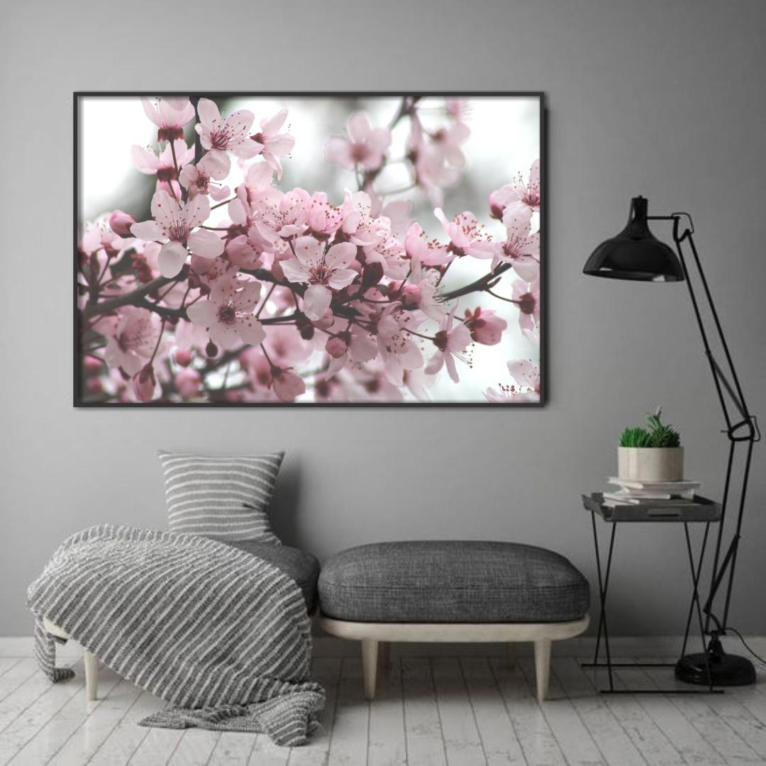 Quadro Decorativo Flor de Cerejeira em Tons de Rosê