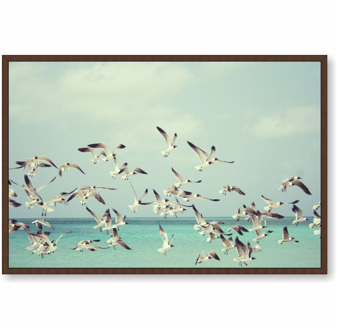 Quadro Decorativo Gaivotas Voando