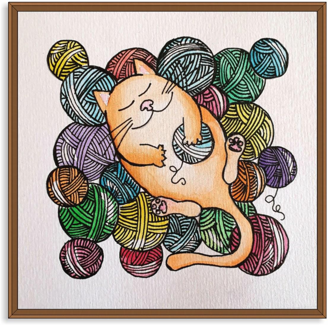 Quadro Decorativo Gato nos Rolos de Fios Coloridos