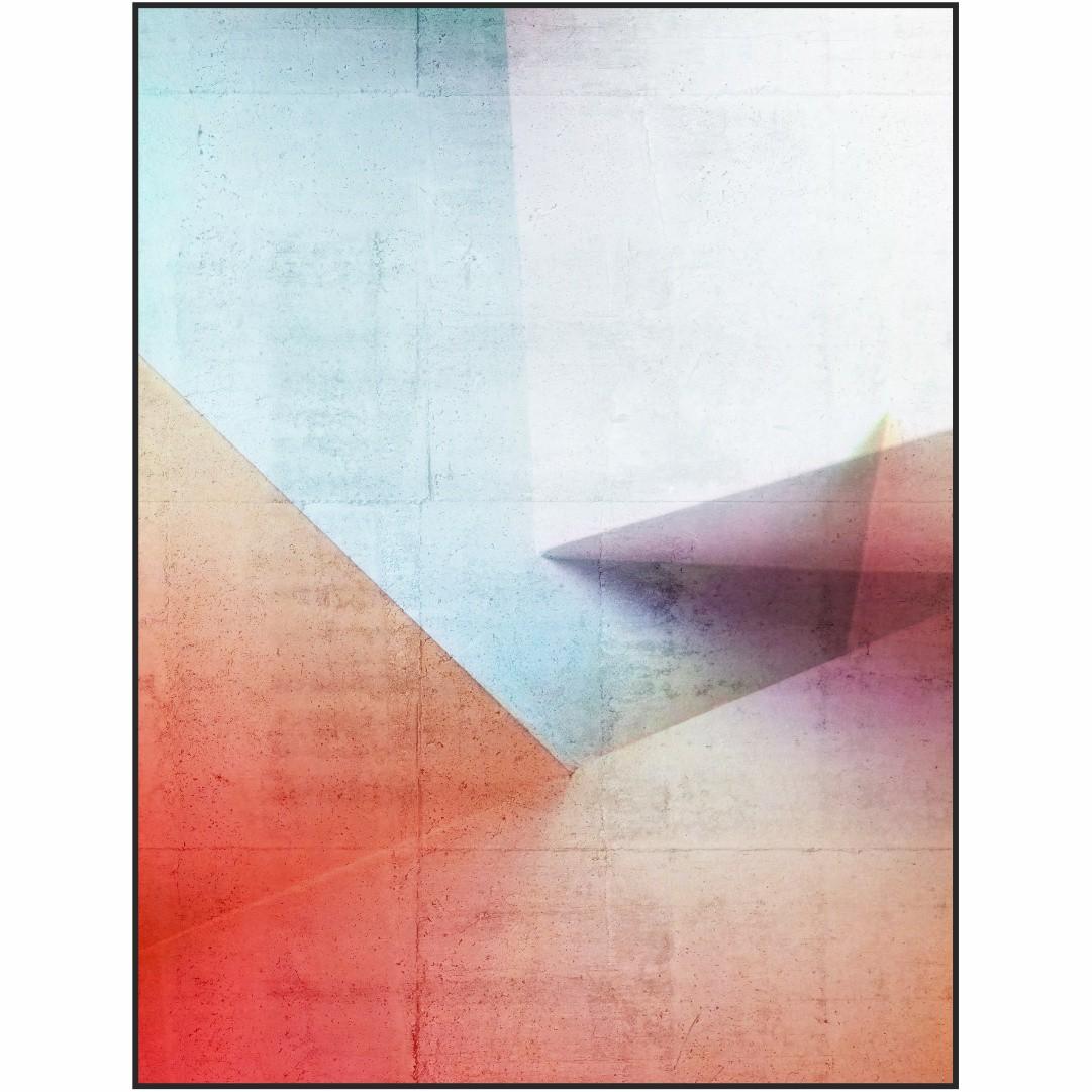 Quadro Decorativo Geométrico Azul e Alaranjado